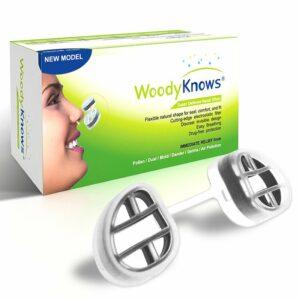 """Das System """"WoodyKnows Super Defense"""" für die Nase mit Nasenfilter in neuer Ausführung auch bei Schnarchen durch die Nase."""