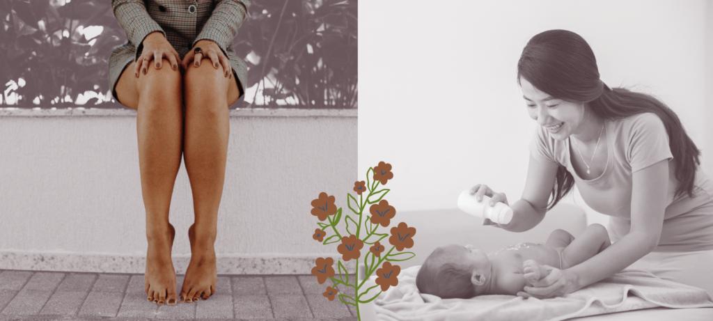 rasierte Beine und Baby mit Babypuder